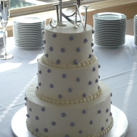 White Buttercream With Purple Dots
