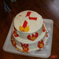 "Pentecost Cake wasnt sure where to put this but I was given specific details to how this cake was to be done....exactly 12 ""tongues"" of fire, 2..."