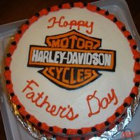 Harley Cake Red Velvet with cream cheese icing...Harley emblem is done in fondant.