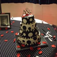 Blk & Whi Polka Dot Did this one for my nephew's wedding this weekend (my gift to them) . WASC torted with raspberry filling & 2 layers were fudge...