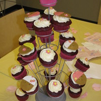 Baby Shower Cupcakes  Cupcakes I made for baby shower at girl. Red Velvet cake with cream cheese frosting and fondant decorations. Inspiration by...