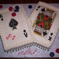 Poker Cake This cake was for a man turning 40.......he is a big poker fan......I did a reverse transfer to make the cards.........