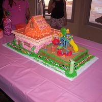 Sesame Street Child's first birthday...the house is white...the playground is chocolate....