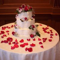 December Wedding Cake Beautiful flowers decorated the reception and cake