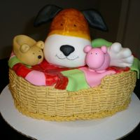 "Kipper The Dog  This is a little cake I made for our daughter's who both love Kipper. I made it using two 8"" rounds, but you could use oval cakes..."