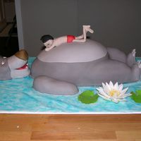 Baloo And Mowgli Jungle Book  This is a cake I made for my daughter's 3rd Birthday.It was about 2 feet long. Mowgli is modeling chocolate and the Water Lily is...