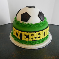 Soccer Cake MMF covered cake, first time using round cake pan, worked like a charm.