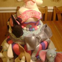 Stuffed Animal Themed Bat- Mitzvah Cake Customer wanted a whimsy cake featuring her daughters favorite stuffed animals