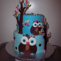 "Owl Baby Shower Cake  9"" & 7"" Black forest cake, everything is MMFwith Strawberry vanilla cupcakes covered in buttercream and fondant owls and..."