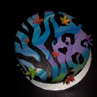 Funky Zebra Leopard Print  This cake was for my daughter's 6th birthday. it's a butterscotch topsy turvy cake with rainbow marbled MMF. I hand painted the...