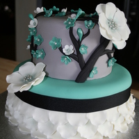 "Not Your Typical Cherry Blossom Cake  9"" Vanila pound cake with vanilla buttercream and 6"" Lemon cake with vanilla buttercream. I used MMF to cover the cake and a..."