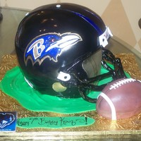 Baltimore Ravens Helmet, And Football Baltimore Ravens cake w/ football smash cake....enjoy, and thanks for looking! The face mask was the most difficult part of this cake, I...