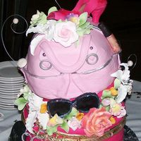 Birthday Cake For 3 Women Turning 30 jewelry box, sunglasses, crocodile textured purse, peep toe shoe, and Mac make-up with sugar flowers