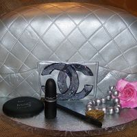 Chanel Clutch Chanel clutch, with MAC make-up made from fondant, bracelet, and gumpaste rose