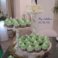 Green Cuppies The presentation. Top is fruit cake with fondant.