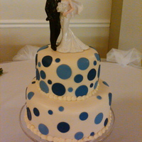 Nora Nora's Wedding. Polka dots in shades of blue on ivory fondant