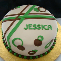 Jessica modern-artsy-geo. Green and brown Fondant
