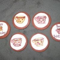 Birthday Teacups These are for my mom's birthday. The cookies are the infamous chocolate rolled cookies with Bailey's Irish Cream MMF on top and...