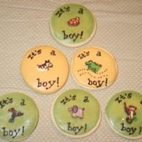Safari Baby Cookies These were for my friend who had a baby this week. The cookies are designed to match the nursery. The green cookies are covered in RBC with...