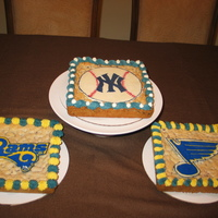 Sports Themed Cookie Cakes chocolate chip cookie cakes with chocolate transfer team logos for my son's sixth birthday