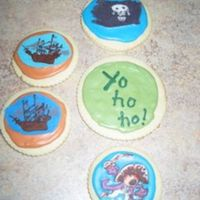 "Pirate Ships, Pirate Flag, Pirate Cookies These cookies are based on characters in the book, ""Captain Flinn and the Pirate Dinosaurs"". The book is a gift for my nephew and..."