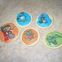 "Pirate Dinosaur Cookies These cookies are based on the dinosaurs in the book, ""Captain Flinn and the Pirate Dinosaurs"". The book and the cookies are..."