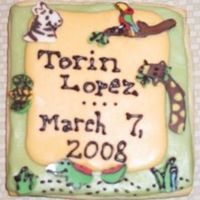 Safari Centerpiece Cookie This is the centerpiece cookie for my friend's baby basket. She just had a baby on Thursday. The accompanying cookies are simpler -...