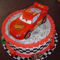 Jack's Cars Simple cake w/Cars theme. Whipped frosting.