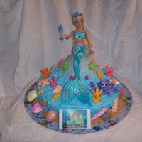 Mermaid Cake My grand daughter wanted a Mermaidia cake for her birthday. Fondant shells, octopus, seaweed, fish, seahorses and chocolate shells with...