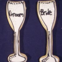Bride And Groom Glasses sugar cookies with royal icing- i still need work on the lettering!