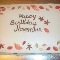November Cake Pumpkin Cake with Butterscotch Buttercream and Fondant leaves