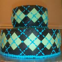 Chocolate Argyle Cake Dark Chocolate w/Fondant and RI pattern