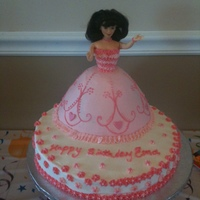 Pretty In Pink Doll Cake All buttercream with fondant hearts