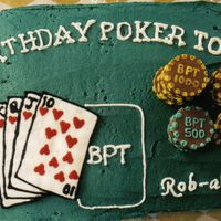 "Poker Table Cake This was fun to do. I used chocolate coins that I melted slightly under the broiler to get them smooth. The ""paint"" was melted..."