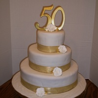 "50 Wedding Anniversary Cake 6"" 10"" and 14"" all covered in fondant."