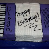Accordion Birthday Cake  Made this 7x11 vanilla cake iced with buttercream for my husband's birthday this year. The accordion was the first instrument that he...