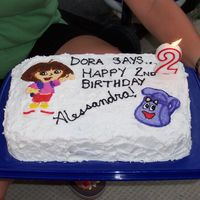 Dora The Explorer Birthday Cake This is a cake I made for my niece's second birthday. She was a huge Dora fan at the time. White buttercream with Royal icing...