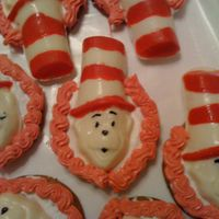 Cat In The Hat Chocolate Cat in the Hats on chocolate chip cookies, trimmed in buttercream icing. For my daughter to take to school whose birthday is...