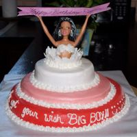 Three Tier Birthday Cake! My first lady popping out of cake! Tha barbie had black and white hair just like the birthday boys wife : )