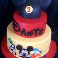 Mickey And Friends Birthday Cake 3 Tier, marble mud cake with fondant characters on the bottom. Dantes name was done by downloading the disney font and then cutting out the...