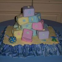 Baby Shower the sheet cake was choc with a espresso mocha buttercream and the blocks were carrot cake with white choc cream cheese filling. this was...