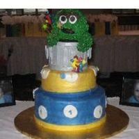 Oscar The Grouch This was my first oscar the grouch cake. it was a sponge irish cream butter cake with choc cannolli cream. I had a blast doing it. what do...