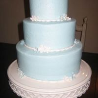 Powder Blue Three Tiered Round Cake  cake made for a military spouses welcome party. done in light blue buttercream. flowers done in fondant. could be nice for a bridal shower...