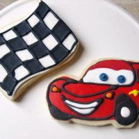 Lightning Mcqueen Cars Cookies W/ Race Checkered Flag! no fail cookie with mmf red base. details done in modified royal.