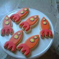 Rocket Ship Space Cookies no fail cookie with mmf base. details in modified royal. cookies made to go with Buzz Lightyear Space cake as favors. Packaged with the...