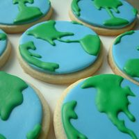 Globe Earth Space Cookies  no fail cookie with mmf base. details in modified royal. cookies made to go with Buzz Lightyear Space cake as favors. Packaged with the...