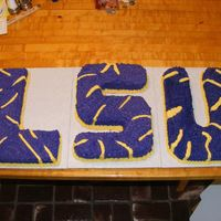 Lsu red velvet cake with cream cheese icing LSU initials