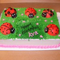 Lady Bug Cake Lady bugs are made from the mini ball pan, spots are junior mints and antenea's are tooties rolls. Cake is covered in buttercream.