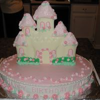 "Castle Cake My daughter spotted this cake in the Wilton Yearbook as soon as I got it and had it picked as ""her"" birthday cake. The castle is..."
