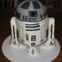 R2D2 Chocolate cake in BC. Legs are molded rice treats covered with BC.